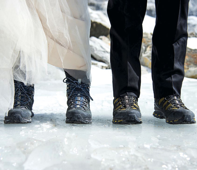 Shoes from the Mount Everest Base Camp Wedding