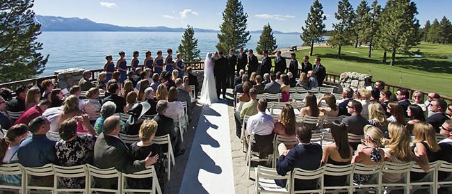 "Edgewood Tahoe is lakefront and includes an alpine lodge where each room has a gas fireplace and outdoor terrace, an 18-hole golf course with lake and mountain views, three restaurants and a full-service spa. ""Definitely the venue is dramatic,"" says sales and marketing director Davis."
